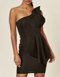 Black Scuba Bow Front One Shoulder Dress | PINGLUDA