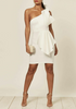 Cream Scuba Bow Front One Shoulder Dress