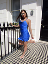 Blue Cowl Neck Frill Sating Playsuit | PINGLUDA