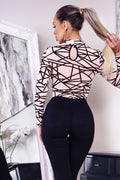 Abstract Print Long Sleeved Mesh Bodysuit | PINGLUDA