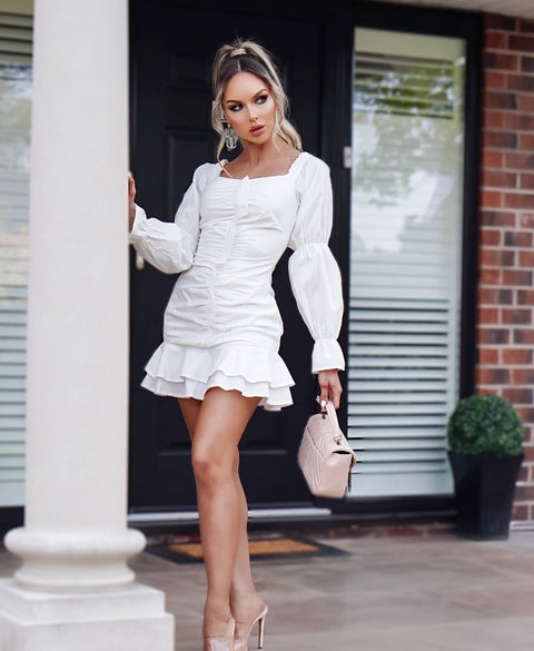 White Ruffle Gathered Detail Bardot Dress | PINGLUDA