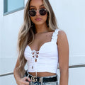 White Lace Up V Neck Crop Top | PINGLUDA