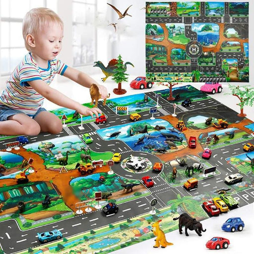 Dinosaur Traffic Road Kids Baby Crawling Play Mat Chidren Game Floor Carpet Pad World Transport Map Pattern Design