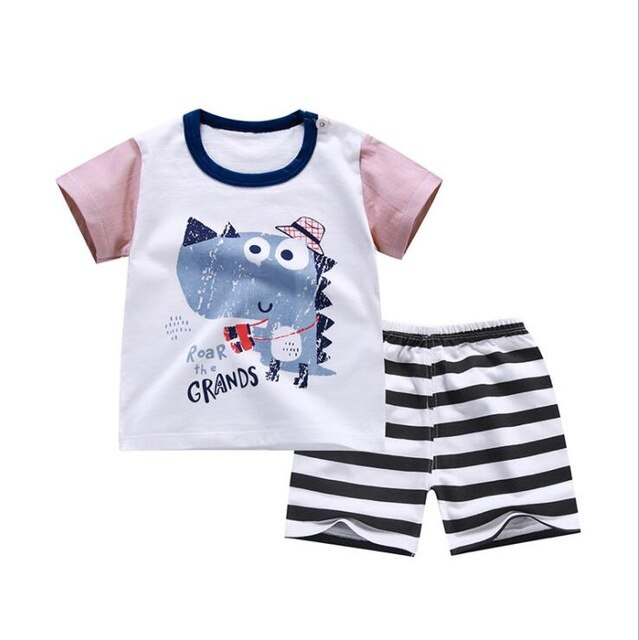 Unisex 12M-4T 2pcs/set short sleeve Baby's set cotton boys girls summer  baby set shorts two pieces o-neck Kids Clothing