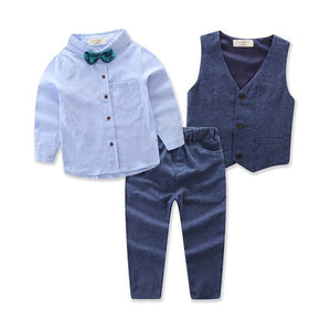 Children Clothing Handsome Boy's 4pcs Suit Long-sleeve Shirts+vest+Trousers+bow Tie for Boys Cloting Sets Gentleman Party Dress