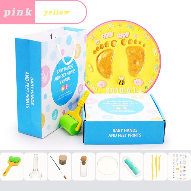 Baby footprint baby gift Baby Care Air Drying Soft Clay DIY Babies hand foot Imprint Kit Casting Toys print pad Newborn souvenir