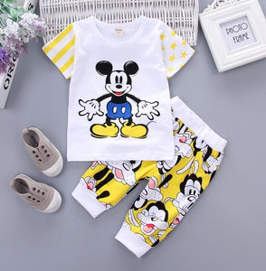 Baby Boys Girls Kids Clothes Set Mickey Sport Suit Summer Cotton T-shirt Shorts 2PCS Outfit Costume Children Clothing Tracksuit