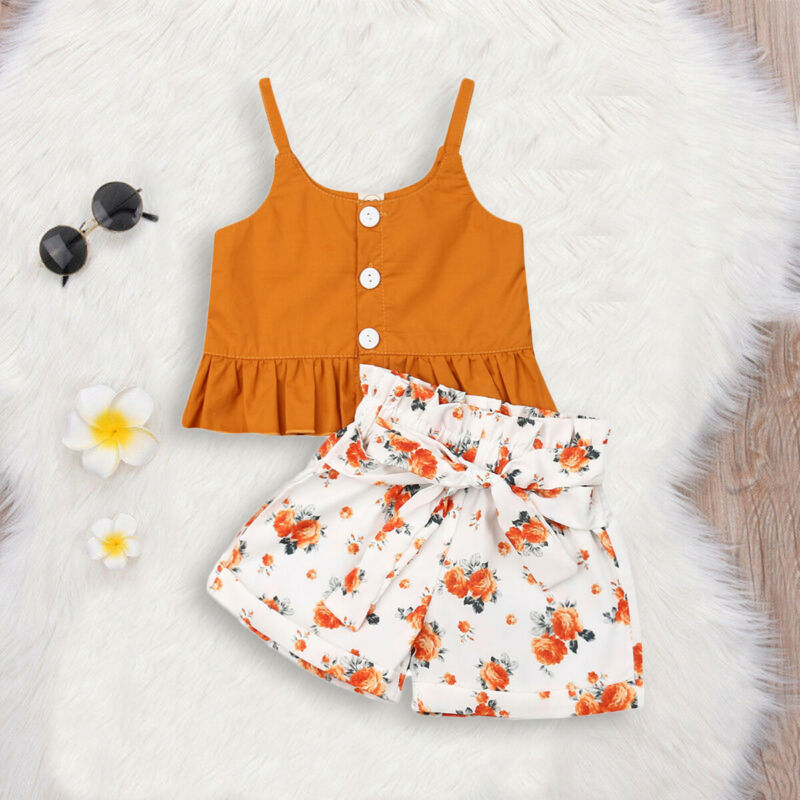 6M-4Y Toddler Kids Baby Girl Summer Sleeveless Tank Tops High Waist Floral Wide Leg Shorts Pant Bottom 2PCS Girls Clothing Set