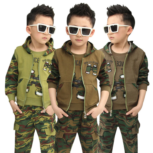 Autumn Camouflage Boys Cloting Set Spring Big Boy Hooded 100% Cotton Jacket+T-shirt+Pants 3Pcs Clothes suit For 3-12 Years