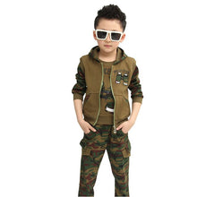 Load image into Gallery viewer, Autumn Camouflage Boys Cloting Set Spring Big Boy Hooded 100% Cotton Jacket+T-shirt+Pants 3Pcs Clothes suit For 3-12 Years