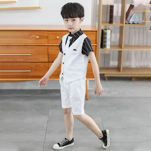 For 3 4 5 6 8 10 12 13 Years Boys Boys Cloting Set Children's Summer Solid Color Student Formal 2Pcs Vest +Short Pant Clothes