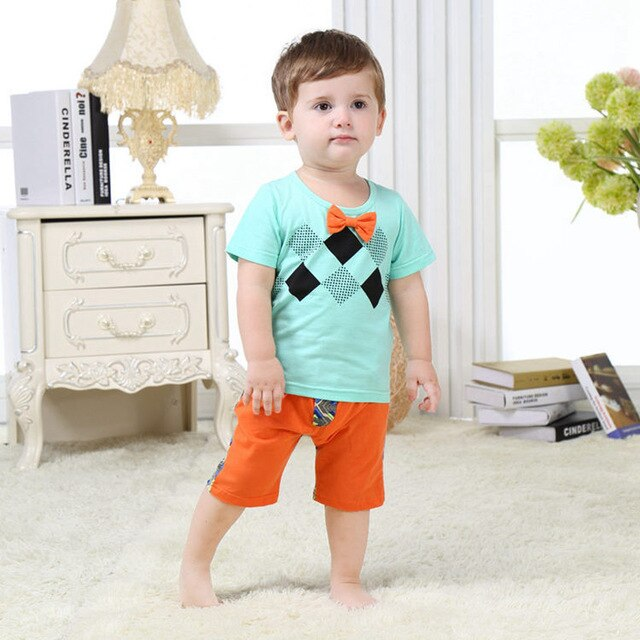 Newborn Cute Infant Baby Boy Clothing 100% Cotton 2pcs Baby Boy Cloting Set 2020 Summer Toddler Baby Clothes SBS164003