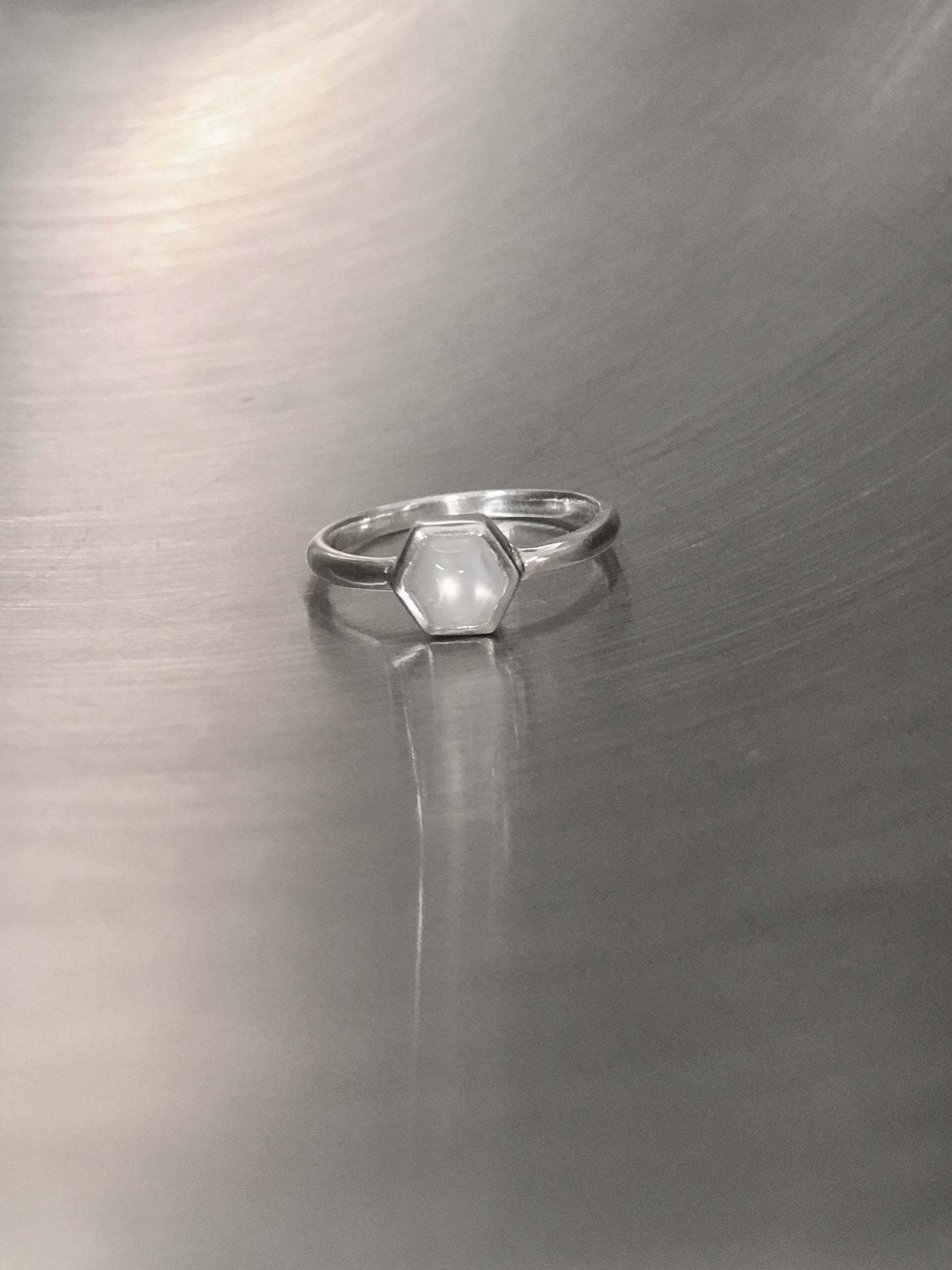 Silver moonstone ring - Hexagon