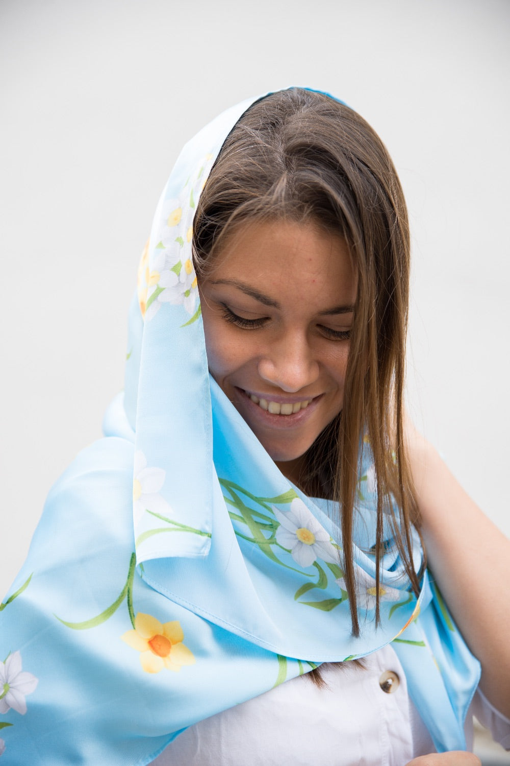 LIMITED EDITION: Blue Flower Silk Scarf
