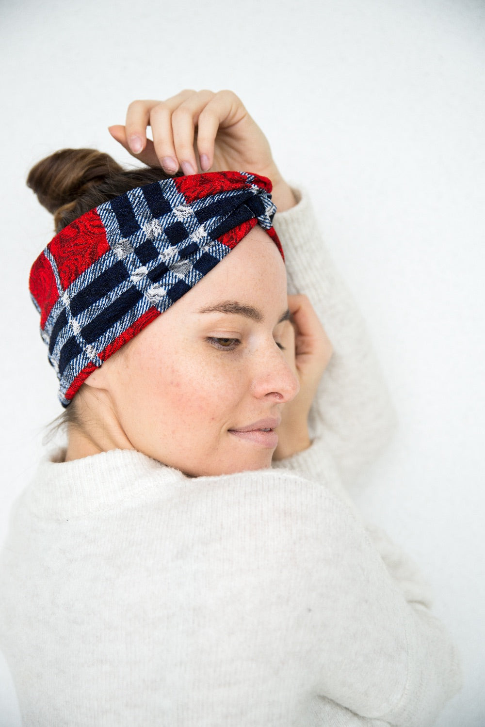 Red checked headband