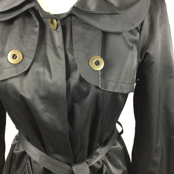 Green With Envy Black Silky Trench Coat