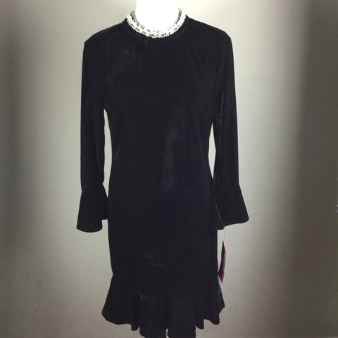 Betsey Johnson Black Velvet Pearl Dress
