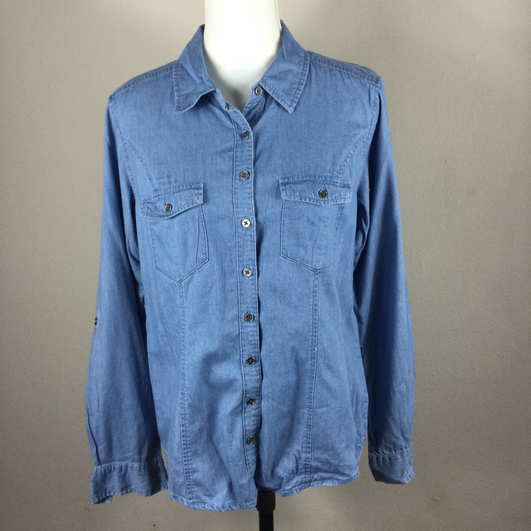 Style & Co Blue Denim Button Down Top
