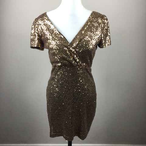 Honey Punch Gold Sequin Cocktail Dress