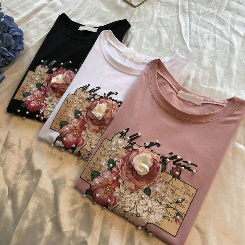 Pearl Beaded Floral T-Shirts