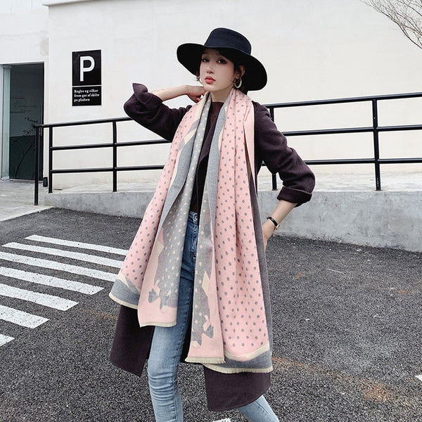 Dot Print Winter Scarf Women