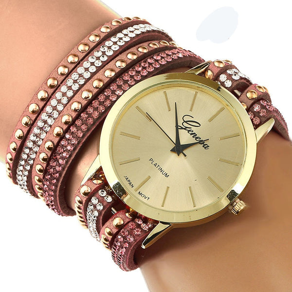Wrap Bracelet Watch Double Crystal