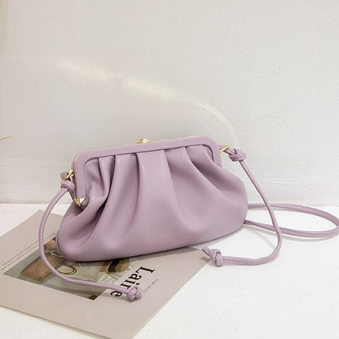 Pleated Metal Frame Bag / Purple