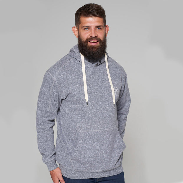 Alpine Brushed Hooded Sweat in Grey - front view hands down