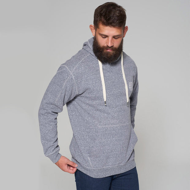 Alpine Brushed Hooded Sweat in Grey - side angle