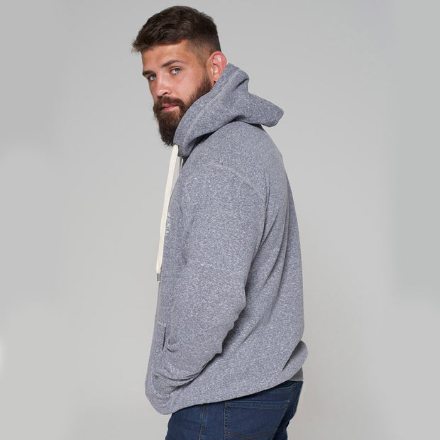 Alpine Brushed Hooded Sweat in Grey - side/back view