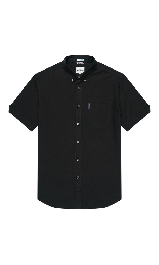 Ben Sherman Black Oxford Short Sleeve Shirt - Big & Tall - Front flat view - Fortmens
