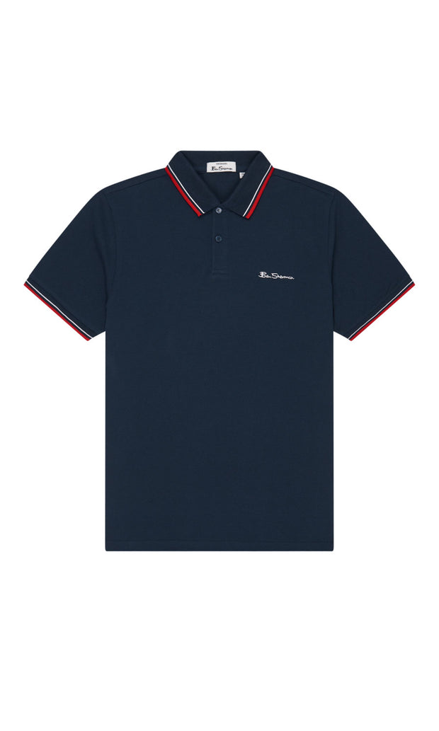 Ben Sherman - Navy Blue Organic Signature Polo Shirt front flat view - Big & Tall