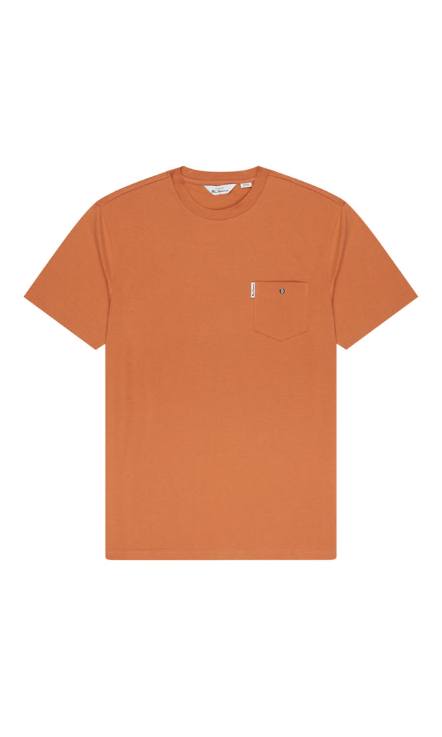 Ben Sherman - Signature Tee - Chest Pocket - Anise Orange - front flat view - big mens t shirt