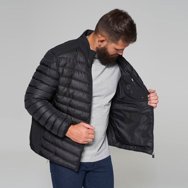 Campione Black Avalanche Mid-weight Quilted Jacket - front view zipped up
