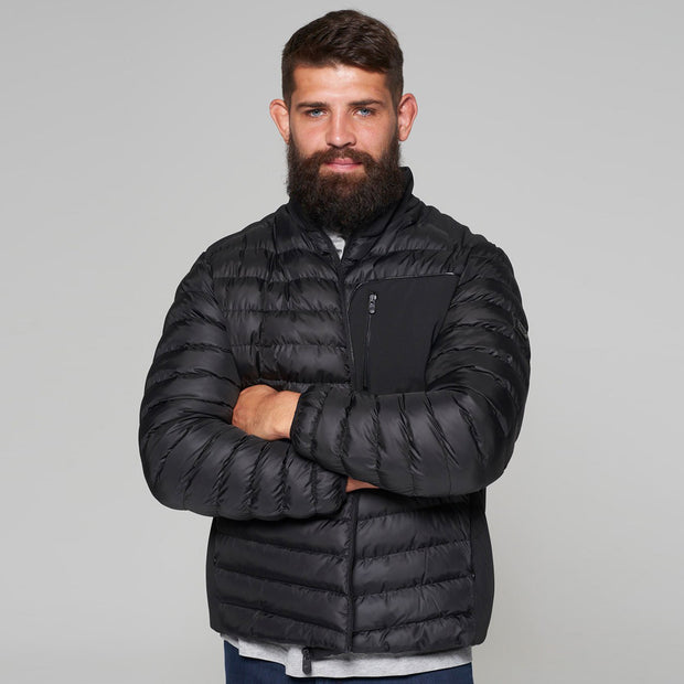Campione Black Avalanche Mid-weight Quilted Jacket - front view zipped straight on