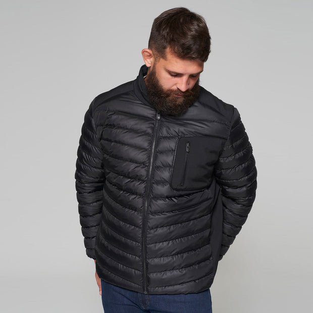 Campione Black Avalanche Mid-weight Quilted Jacket - front view look