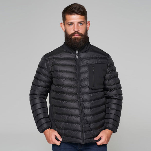 Campione Black Avalanche Mid-weight Quilted Jacket - front view folded arms