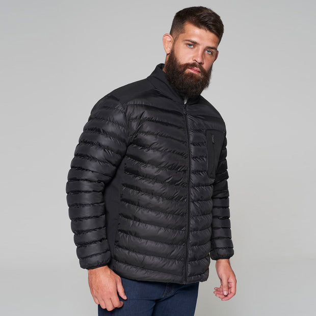 Campione Black Avalanche Mid-weight Quilted Jacket - unzipped and open