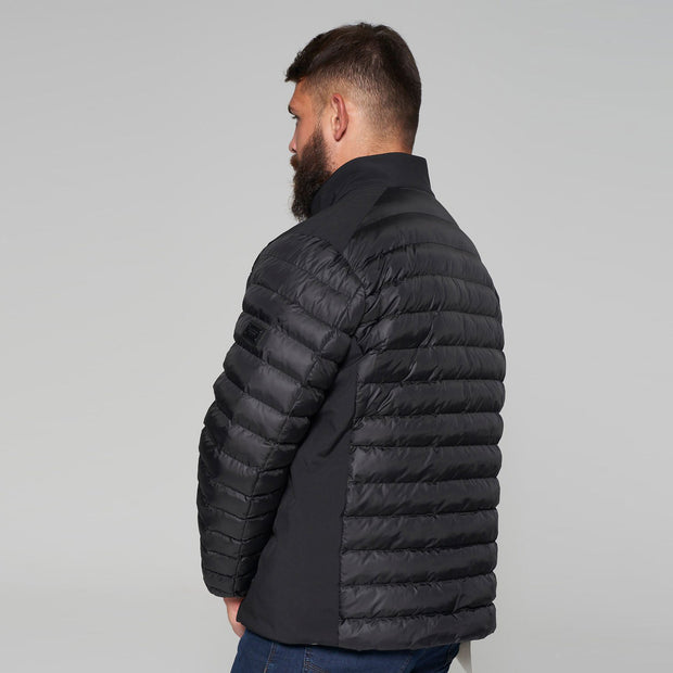 Campione Black Avalanche Mid-weight Quilted Jacket - front view - unzipped