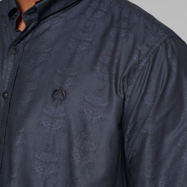 Campione Blackstone Pattern Long Sleeve Shirt - close up view
