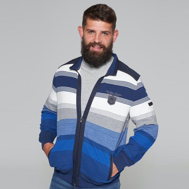 Campione - Everest Blue and White Striped Full Zip Jumper - front view zip open