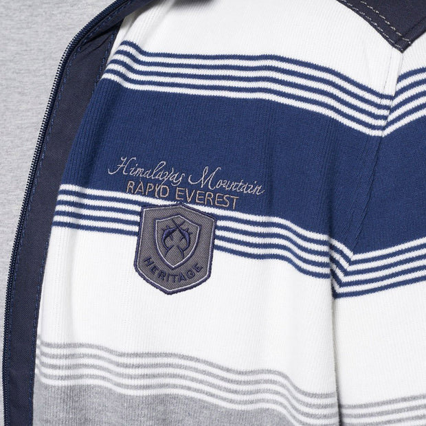 Campione - Everest Blue and White Striped Full Zip Jumper - side angle