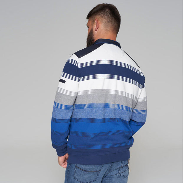 Campione - Everest Blue and White Striped Full Zip Jumper - half zipped