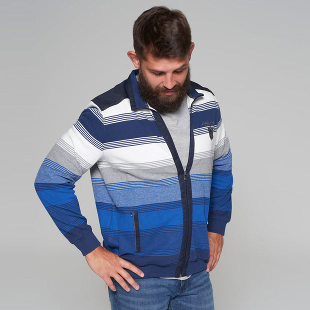 Campione - Everest Blue and White Striped Full Zip Jumper - front view