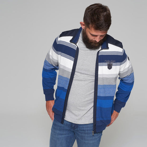 Campione - Everest Blue and White Striped Full Zip Jumper - back view