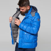 Campione Everest Sapphire Blue Jacket - close up view - hood up
