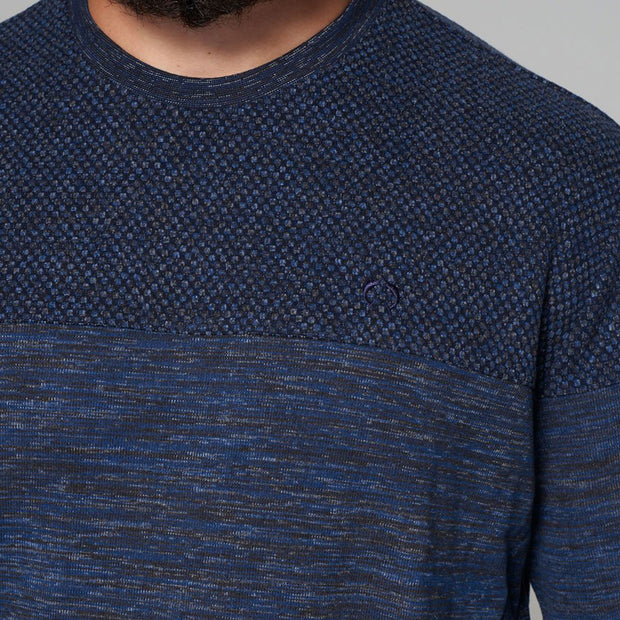 Campione - Mountain Ranch Crew Neck Contrast Knit in Navy Blue - side view