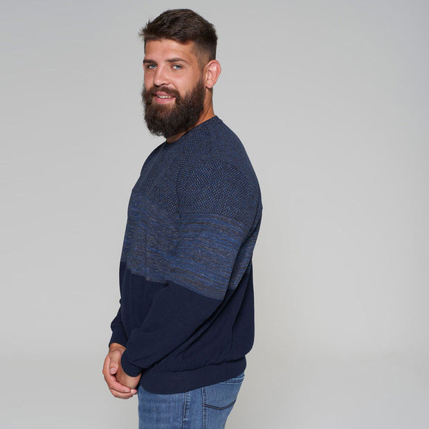 Campione - Mountain Ranch Crew Neck Contrast Knit in Navy Blue - front view - folded arms