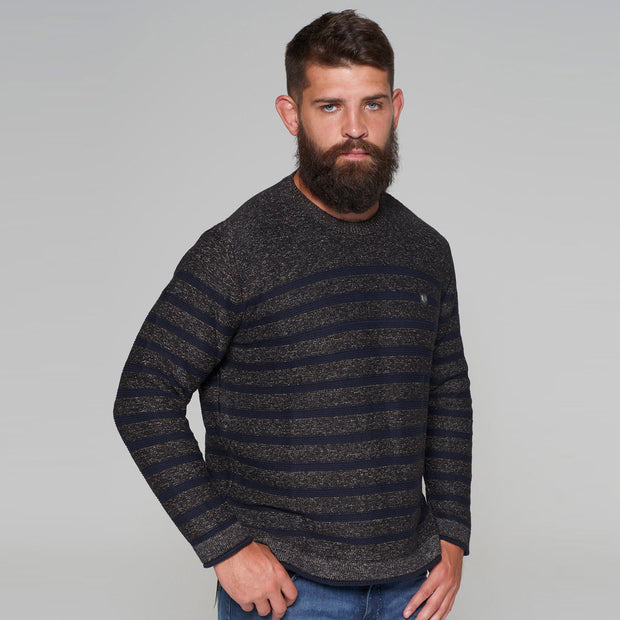 Campione Mountain Ranch Knitted Jumper in Navy Blue Stripe side view