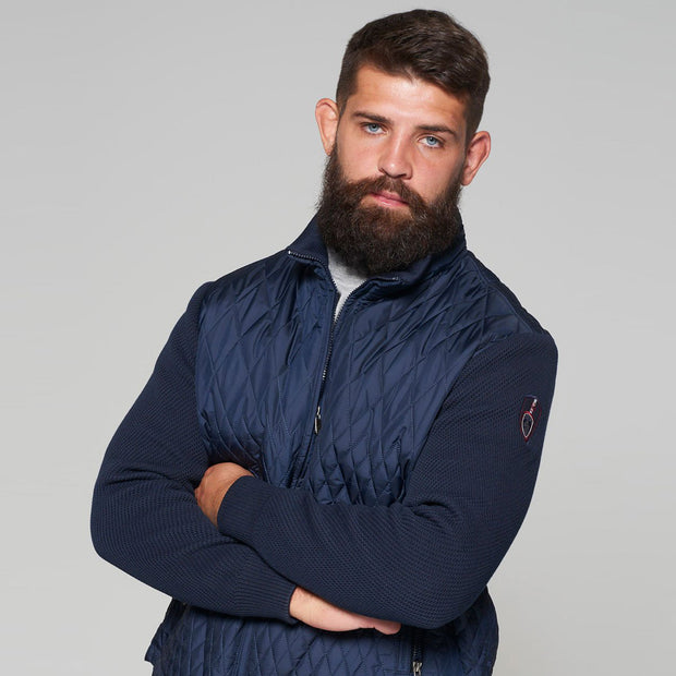 Yachting Quilted Jacket with Contrast Wool Sleeves in Navy Blue - open zip
